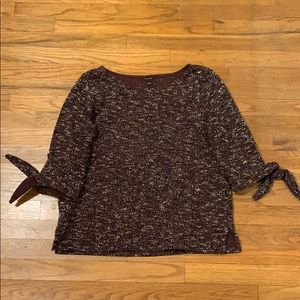 Ann Taylor tweed burgundy and white blouse Large
